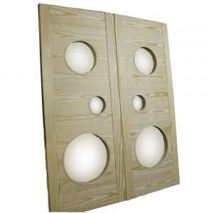 パイン材の丸額縁ドア